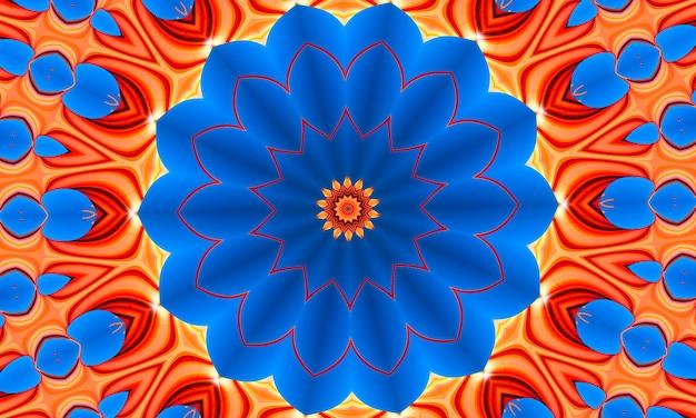 Оранжевые лучи звезд на синий градиент ретро текстурированный узор 70-х годов. абстрактный фон уникальный калейдоскоп. красивый калейдоскоп бесшовные модели. бесшовные текстуры калейдоскоп.