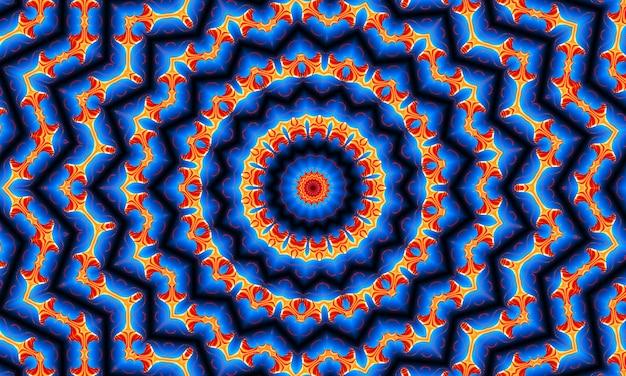 파란색 그라데이션 복고풍 질감 패턴 70에 주황색 광선 별. 추상 독특한 만화경 배경입니다. 아름 다운 만화경 완벽 한 패턴입니다. 원활한 만화경 텍스처