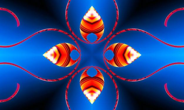 Оранжевые лучи звезд на синем градиенте ретро текстурированном узоре 70-х годов. абстрактный фон уникальный калейдоскоп. красивый калейдоскоп бесшовные модели. текстура бесшовные калейдоскоп