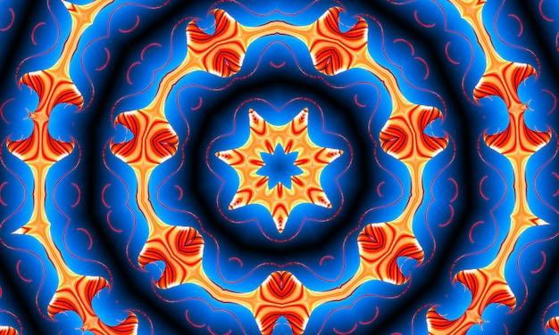 オレンジ色の光線は、70年代の青いグラデーションのレトロなテクスチャパターンに星を付けます。抽象的なユニークな万華鏡の背景。美しい万華鏡のシームレスなパターン。シームレスな万華鏡のテクスチャ