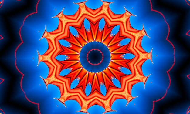 オレンジ色の光線は、70年代の青いグラデーションのレトロなテクスチャパターンに星を付けます。抽象的なユニークな万華鏡の背景。美しい万華鏡のシームレスなパターン。シームレスな万華鏡の質感