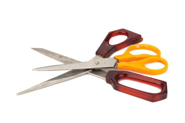Orange and red scissors.
