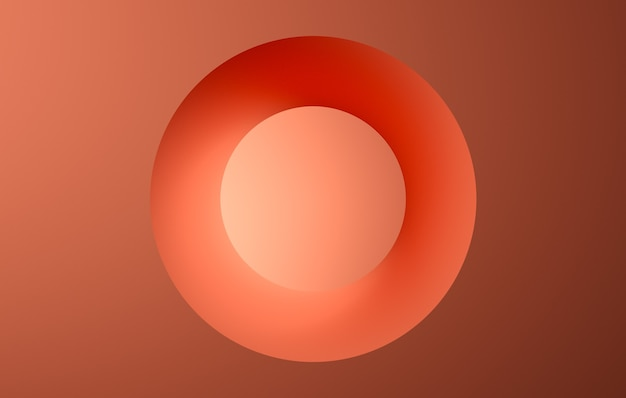 オレンジ色のリング抽象的な色の背景dレンダリング