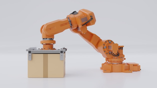 Orange robots arm are carrying a cardboard box.