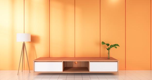 오렌지 룸 흰색 바닥 미니멀리스트 일본식 거실