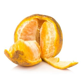 Orange. rotten. dirty. ripe. peel. isolated on white background