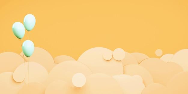 Оранжевое небо и облака вечером на закате вырезать из бумаги стиль 3d иллюстрации