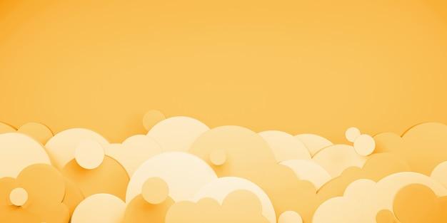 Оранжевое небо и облака вечером на закате 3d иллюстрации в стиле вырезки из бумаги