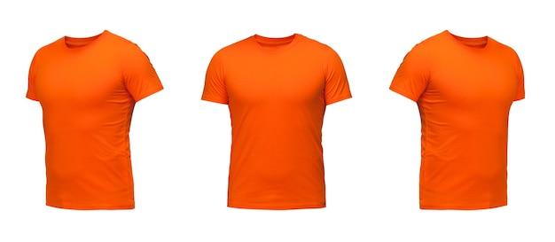 주황색 민소매 티셔츠. 흰색 배경에 t-셔츠 전면 보기 세 위치