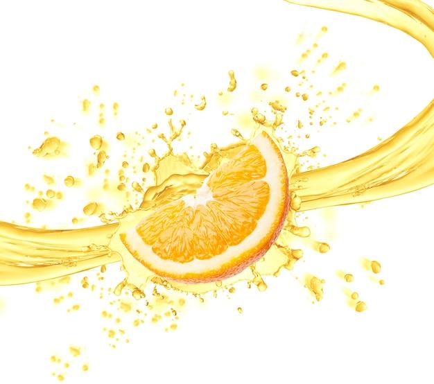 Долька апельсина и брызги сока изолированные