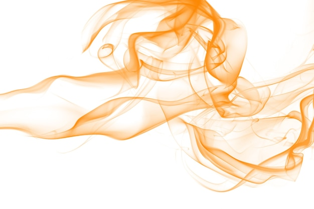 Orange smoke abstract on white background. yellow ink water color