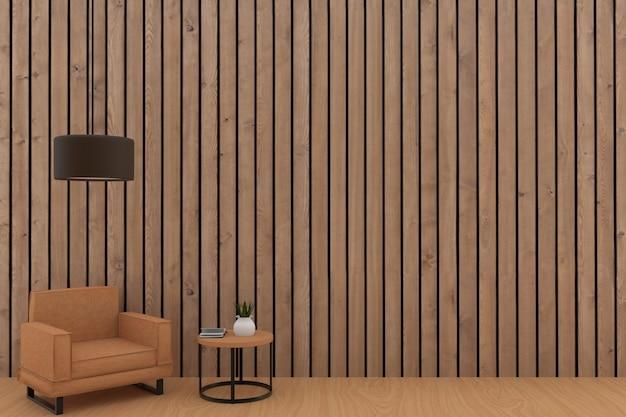 3d 렌더링에 나무 판자 방에 램프와 오렌지 소파 디자인