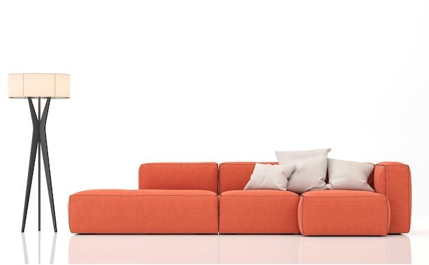 주황색 소파는 흰색 배경 3d 렌더링에 격리됩니다. 소파와 램프에 클리핑 경로가 있습니다.