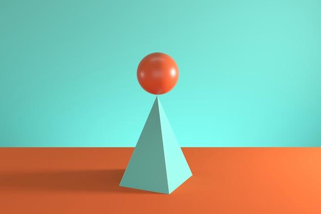 파란색과 주황색 배경에 고립 된 파란색 피라미드 위에 오렌지 구.
