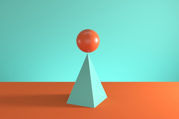 Orange sphere on the top of blue pyramid isolated on blue and orange background.