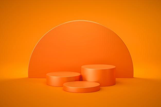 Оранжевая подставка или пьедестал подиума на пустой витрине