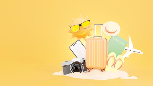Orange suitcase with travel accessories and the concept of summer
