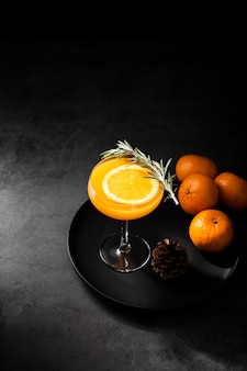 Orange summer cocktail studio shot