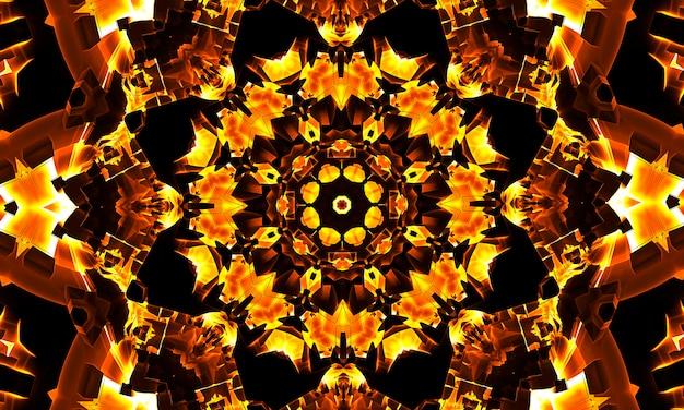 オレンジ、太陽、ひまわり万華鏡、美しい幾何学模様、壁紙、背景、ウェブバナー、背景、デザインテンプレートに最適