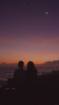 오렌지 석양과 바다