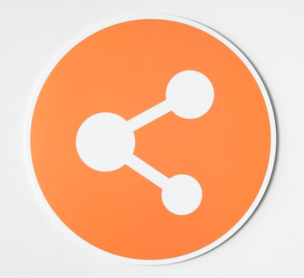 Simbolo arancione dell'icona di condivisione