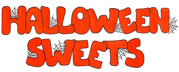 Orange text with spider web sweets for halloween watercolor sketch illustration isolated on white