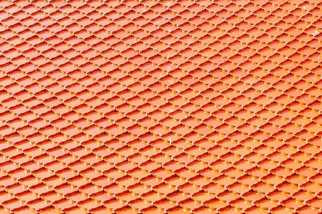 Orange tile roof at buddhist temple. square pattern background.