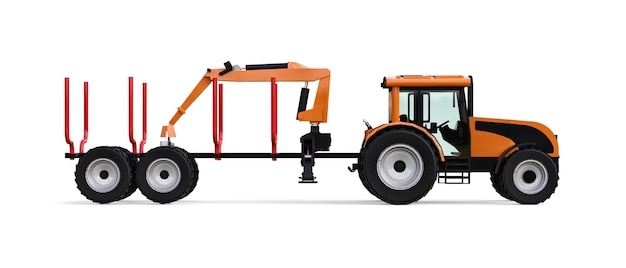흰색 배경에 로깅을 위한 트레일러가 있는 주황색 트랙터. 3d 렌더링.