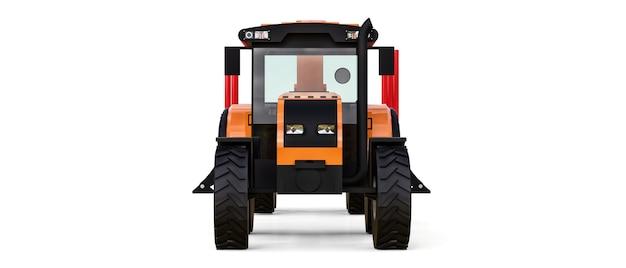 白い背景にログオンするためのトレーラー付きのオレンジ色のトラクター。 3dレンダリング。