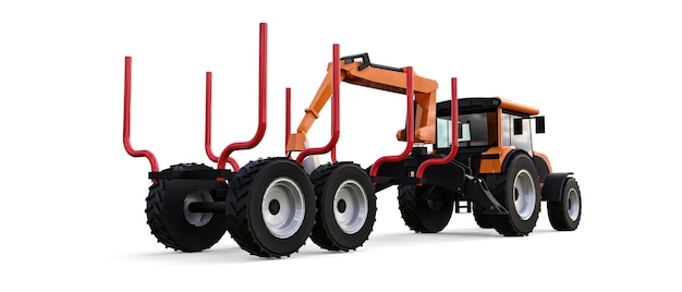 Orange tractor with a trailer for logging on a white background. 3d rendering.