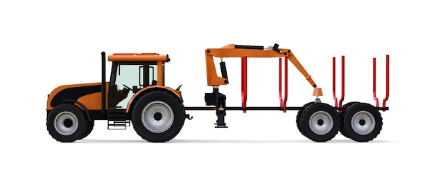 Orange tractor with a trailer for logging on a white