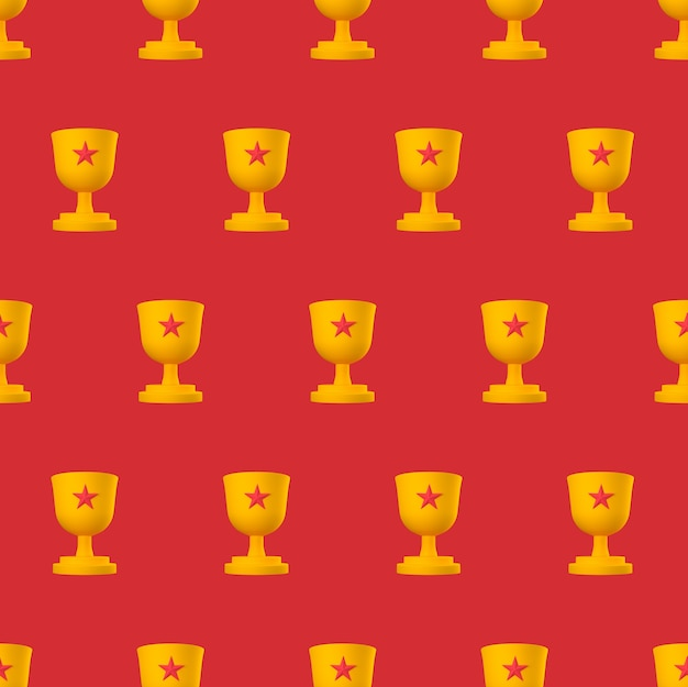 Orange trophy cup with red star on pastel seamless pattern.