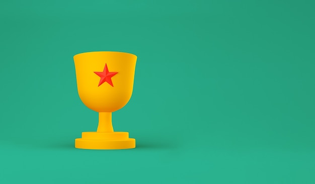 Orange trophy cup with red star on pastel.