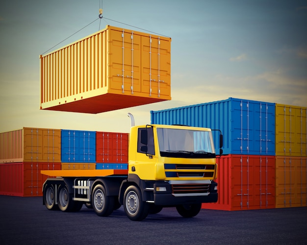 Orange truck on background of stack of freight containers