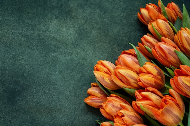 Orange tulips bouquet on green background