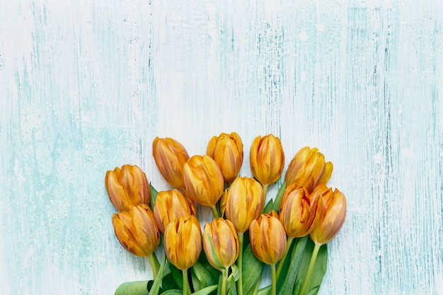 Orange tulips bouquet on light blue table. copy space, top view. holiday table, greeting