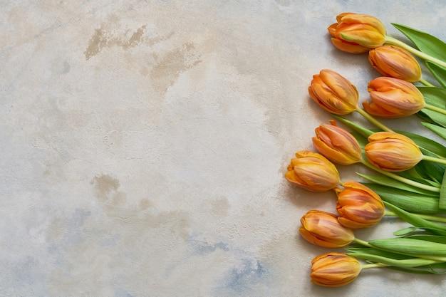 カラフルな水彩画の背景にオレンジ色のチューリップ。コピースペース、上面図。休日の背景