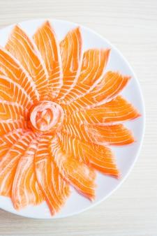 Orange tuna gourmet raw dish
