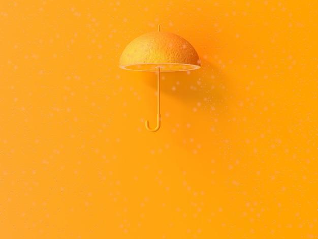 Orange umbrella shape and rain.