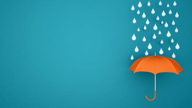 Orange umbrella with water drop on a blue backdrop - rainy season for artwork - 3d illustration