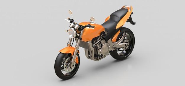 Оранжевый городской спортивный двухместный мотоцикл на серой поверхности