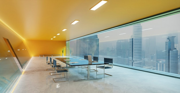 オレンジ色の壁、セメントの床、ガラスのファサード照明デザインのモダンな会議会議室
