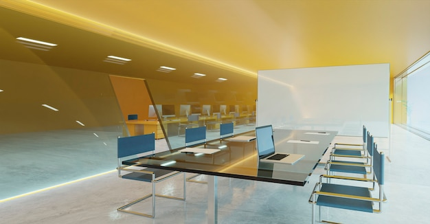 Orange wall, cement floor and glass facade lighting design modern conference meeting room with empty whiteboard