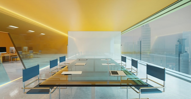 Orange wall, cement floor and glass facade lighting design modern conference meeting room