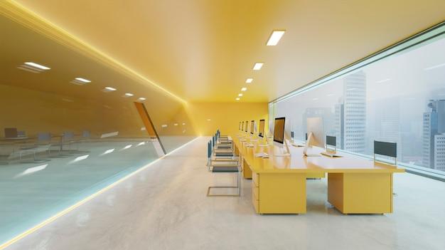 Orange wall, cement floor and glass facade lighting design modern office