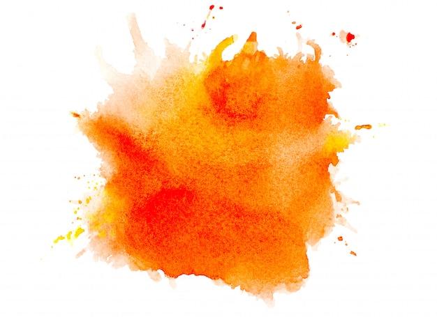 オレンジ色の水彩画。 Premium写真