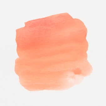 An orange watercolor stained on white background