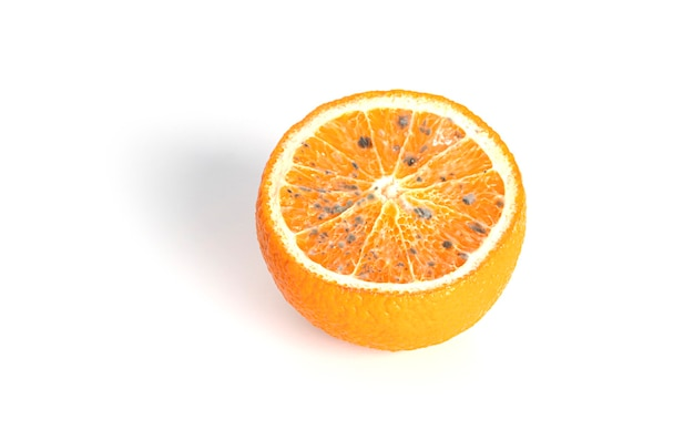 Orange with mold isolated on a white background. high quality photo