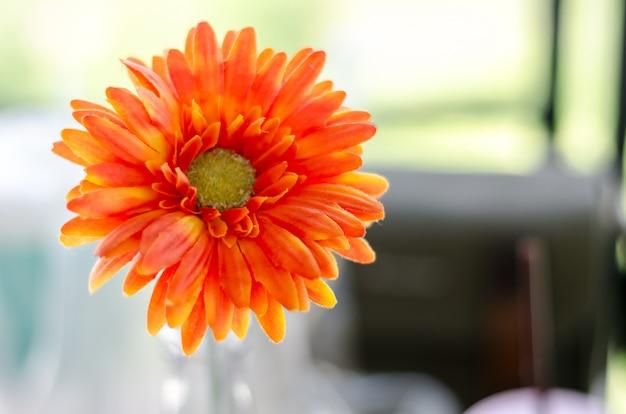 직물에서 만든 오렌지 백 일초 꽃