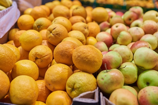 Oranges and apples in the store